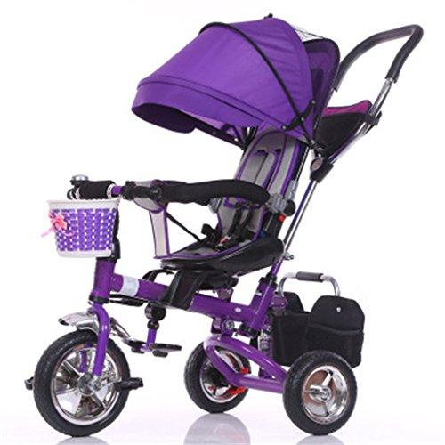 Enfant à l'intérieur Extérieur Petit tricycle Bicyclette Bicyclette à vélo pour fille de 8 mois - 6 ans Bébé Trois roues Chariot à auvent, mousse / siège tournant / amorti / pliable, violet