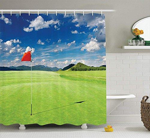 Nyngei Sport-Dekor-Sammlung Golf Feld mit Flagge im Loch Wolken Himmel Sommer Golf Landschaft BildBad Duschvorhang lang grün blau rot - Wolken Sammlung