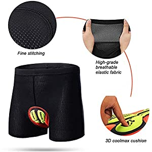 TOPTETN 3D Acolchado Bicicleta Ciclismo Ropa Interior Pantalones Cortos Transpirable Ligero Hombres y Mujeres
