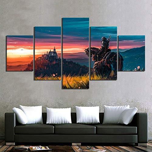 Angle&H Zuhause Dekoration 5 Stücke The Witcher 3 Wild Hunt Spiel Segeltuch Malerei Modular Poster Wandkunst Druckt Bilder zum Wohnzimmer,A(unframed),M
