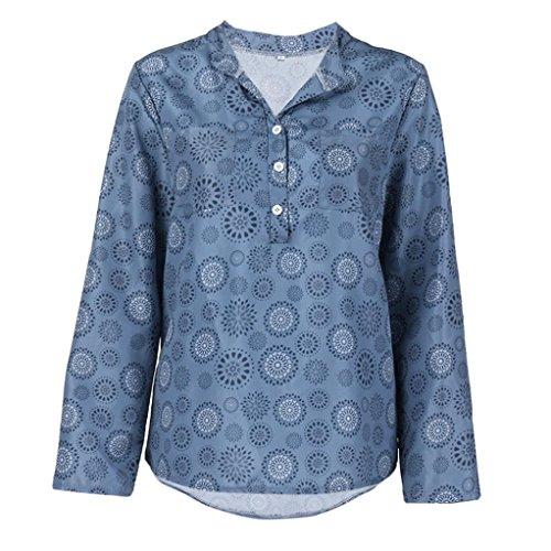 OSYARD Damen Sommer Plus Size V-Ausschnitt Shirt mit Polka Dot-Print Chiffon Langarm Bluse mit Taste Pullover Standard Tops(S-5XL)