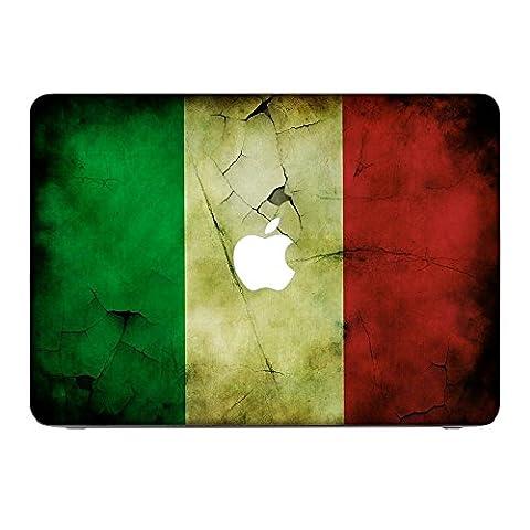Flagge Italien 2, Ländern, Skin-Aufkleber Folie Sticker Laptop Vinyl Designfolie Decal mit Ledernachbildung Laminat und Farbig Design für Apple MacBook Pro