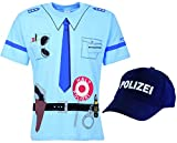 Kinder Polizei Uniform T-Shirt + Cap 2er Set blau (92/98)