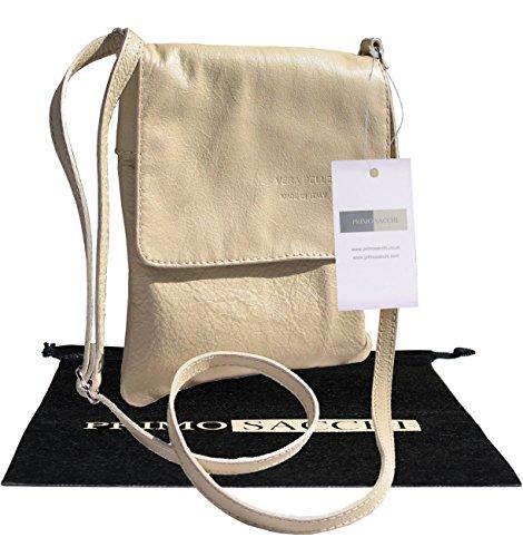 Italiano in morbida pelle, piccole e medie Messenger croce corpo o spalla borsetta.Include una custodia protettiva marca. Bianco (crema)