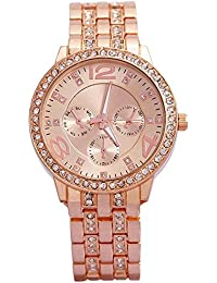 Geneva Platinum Analog Rose Gold Dial Women's Watch - g8027_D
