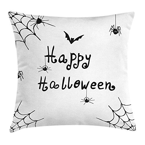 Spider Web Throw Pillow Cushion Cover, Happy Halloween Celebration Monochrome Hand Drawn Style Creepy Doodle Artwork, Decorative Square Accent Pillow Case, 18 X 18 inches, Black White