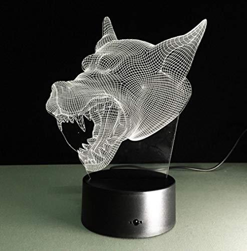 Joplc Wolf kopf cool 3d nachtlicht usb led tisch schreibtisch illusion lampe kind kinder hause schlafzimmer bar dekor lichter (Cool Hause Zu Halloween-dekoration Machen Zu)