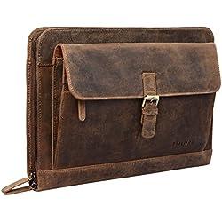 STILORD 'Emilius' Carpeta ejecutiva o de conferencias de Piel para tamaño DIN A4 Portadocumentos o portafolios para portátil MacBook o Tablet de 13,3', Color:marrón - Medio