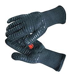 Grill Heat Aid Grillhandschuhe & Ofenhandschuhe – hitzebeständig bis 500 Grad – Kochhandschuhe & Hitzeschutzhandschuhe zum Grillen, Kochen & Backen – 1 Paar Hitzeschutz Handschuhe in Vollschwarz