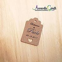 CARTELLINI carta KRAFT 45x65 mm PERSONALIZZATI, bomboniere, avana, etichette,matrimonio, battesimo, comunione, cresima, kraft cuore