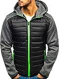 BOLF Herren Übergangsjacke mit Kapuze Sweatjacke mit Reißverschluss Sportlicher Stil J.Style TY05 Schwarz XL [4D4]