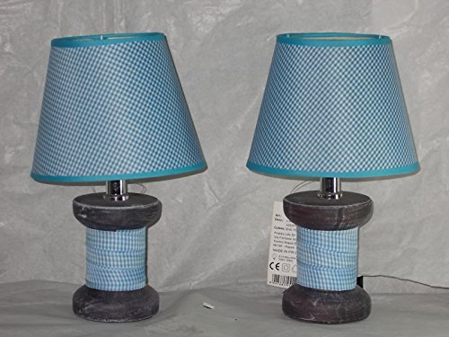 Lume lumetto lampada in ceramica rivestita in stoffa (2, Blu)