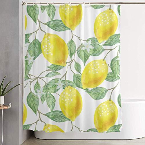 LVOE TTL Duschvorhang mit Haken Blatt-gr¨¹ne gelbe Zitronen-Frucht-Aquarell-Muster-Kunst Badezimmer Dekor Bad Vorhang-60 X 70 in (Zitrone Gelb Duschvorhang)