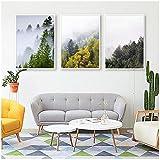 sochiyakart Leinwand Wandkunst Wald Landschaft Poster Nordischen Wolkendruck Malerei Naturbilder für Wohnzimmer Dekoration 50x70 cm x 3 Kein Rahmen