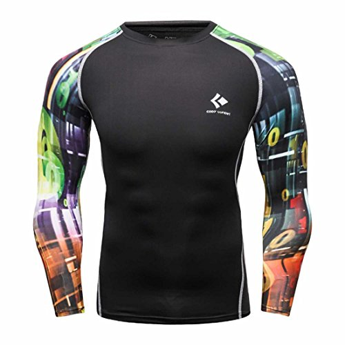 Men's Long Sleeves Base Layer Weight Lifting Tee Shirts style 16