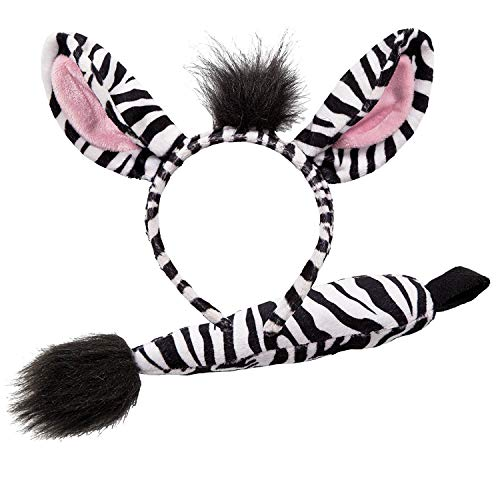 Animal Ears & Tail Set - Zebra Kids Fancy Dress (Party Animal Fancy Dress Kostüm)