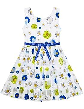 Mädchen Kleid Plaid Kariert Tüll Blumen- Gedruckt Punkt Gürtel