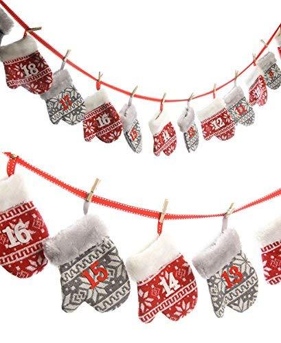 Spetebo Adventskalender mit 24 Handschuh Taschen - Länge 250 cm - Adventskette zum befüllen
