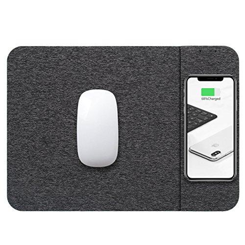 GEMWON Qi Wireless-Ladegerät Maus-Pad, 2 in 1 ladematte langlebige Stabile Tragbare sichere eingebaute Drahtlose Ladegerät Alle Qi-Geräte comperter Android iPhone (Grau)