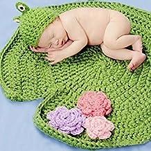 Pemm + 6 rana gorro verde de ganchillo bebé Manta de punto fotografía Prop