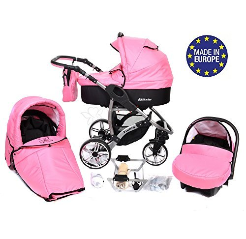 ALLIVIO, 3-in-1 Travel System with Baby Pram, Car Seat, Pushchair & Accessories, Black & Bright Pink