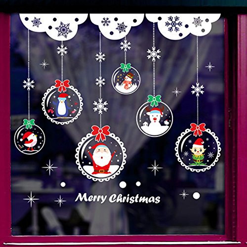 Santa claus fensteraufkleber,Hängenden kugel tür aufkleber shop christmas ornament layout fenster aufkleber glas aufkleber wandtattoo-B 88x95cm(35x37inch)
