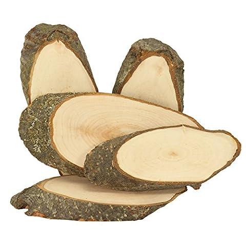 Rindenscheibe 5 Stück ✓ Naturholzscheiben ca. 14 - 17 cm lang ✓ Baumscheiben oval geschnitten ✓ Rindenscheiben aus hochwertigen Erlenholz ✓ auf beiden Seiten geschliffen ✓ einzigartiges Naturprodukt (genannte Abmessungen können abweichen!!) ✓ Baumscheiben-Set ideal zum Basteln von Türschildern ✓ Holzscheiben mit Rinde ✓ naturbelassenes und unbehandeltes Holz ✓ für Deko & Basteln | trendmarkt24 - 40403