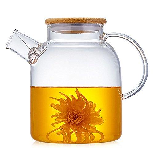 TAMUME 1800ML Glas-Teekanne mit Bambus Deckel und Edelstahl-Filter-Spule Glas Wasser-Krug Ideal für Obst-Tee-Container und blühende Teekanne - Wasser-filter-tee