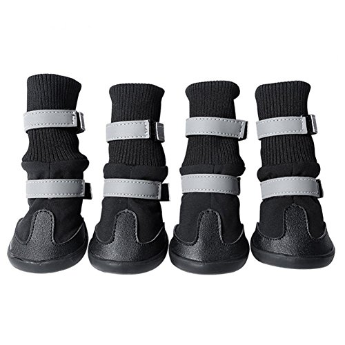 AOKDOOR 4 PCs Puppy Anti-Slip Comfortable Large Dog Pu Leather Boots Waterproof Guardian Gear All Shoes Protective Weather Shoes - Regen-socken Hund