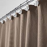 mDesign Rideau de Douche de Luxe en 65% Polyester et 35% Coton – Rideau de Douche Tissu Doux avec Motif Gaufre – Rideau Baignoire Facile à Nettoyer – Taupe