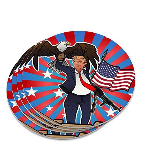 Trump mit Adler American Flagge Gun Neuheit Untersetzer-Set (Patriotische Getränke)