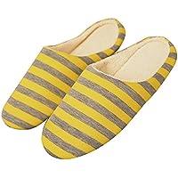 Men Women Indoor Slippers Winter Cotton Slippers (M:40-41, Yellow)