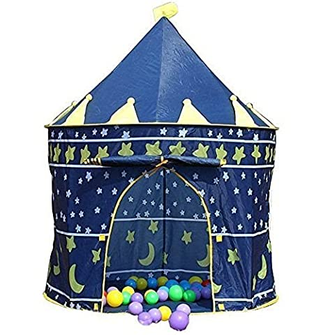 CHILDRENS BLUE POP UP CASTLE TOY PLAY TENT DEN CHILD KID GIFT IDEA HOUSE CHILD - Size: 135 x 105cm CHRISTMAS GIFT PRESENT IDEA STOCKING FILLER BOYS
