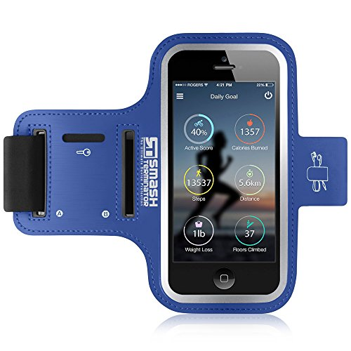 iPod Touch Running Armband | Smash Terminator Neoprene Sports Gym Arm band for iPod Touch 1st, 2nd, 4th, 5th, 6th & New 7th Generation. 8gb, 16gb, 32gb & 64gb with Key Holder and Reflective Strip (As Seen in Runners World Magazine - 5 Stars) inc. 18-Month Warranty (Blue)