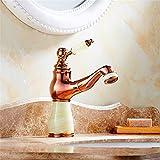 Bijjaladeva Wasserhahn Bad Wasserfall Mischbatterie WaschbeckenDie Unter Tabelle gießen Kaltes Wasser am Waschbecken Armatur Waschbecken Jade Gold Gewindebohrer Gewindebohrer m
