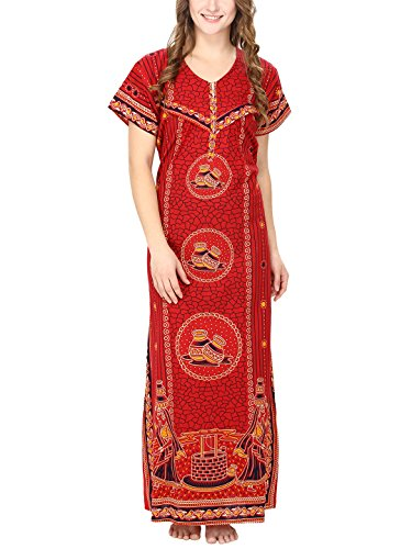 Secret Wish Women's Cotton Red Maternity Nighty