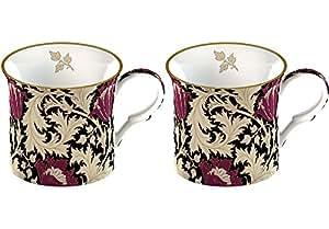 Creative Tops V&A William Morris Anemone Fine Bone China Mugs, Set of 2, Black