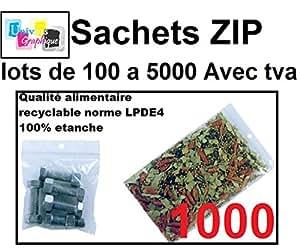 lot de 1000 Sachets 100 x 150 mm fermeture zip Transparent. Sachet fermeture zip 10 x 15 cm 50u sac plastique compatible alimentaire et congélation de marque UNIVERS GRAPHIQUE REF UGS07-1000. Facture avec T.V.A déductible
