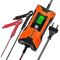 POTEK Chargeur de Batterie/Mainteneur2A/ 4A Intelligent de véhicules ,moto,camper aux champs(pour batterie Plombe-Acide ,AGM et GEL 6V/12V de 4 à 120Ah) Ecran LCD, brancher en permanence,récupérer la batterie