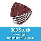 300 Stück Klett-Schleifdreiecke 93x93x93 mm Körnung je 50 x 40/60/80/120/180/240 für Delta-Schleifer 6 Loch