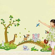 Wallpark Dibujos animados Lindo Jirafa Cocodrilo Elefante Cruce Puente de madera Desmontable Pegatinas de Pared Etiqueta de la Pared, Niños Infantiles Dormitorio Vivero DIY Decorativas Murales