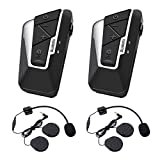 Cuffie Interfono SUAOKI 1200m Bluetooth Intercom Stereo con Microfono Impermeabile IPX6, 2 Clips Inclusi Compatibile con Casco, 2 Pacchi