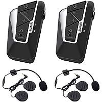 Suaoki T9S - 1200m Intercom Moto Bluetooth, 2PCS pour Casques Kit Moto Main Libre Ecouteur Bluetooth/Oreillette Anti Bruit Casque Communication Système Microphones pour Moto, Vélo, Voiture (Double)