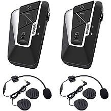 Suaoki T9S - Auriculares Intercomunicador Moto, IPX6 Impermeabilidad, 1200m Sistema de Comunicación Intercom Bluetooth para Casco de Motocicleta con 2 Pares de Micrófonos para Motociclista, Automóvil