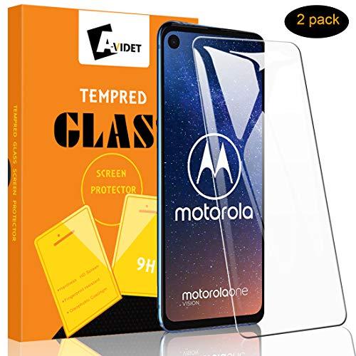 A-VIDET Schutzfolie für Motorola one Vision, 9H Härte Schutzfolie Anti-Kratzer/Bläschen/Fingerabdruck/Staub Bildschirmfolie Schutzfoliefolie für Motorola one Vision (2 Stück)