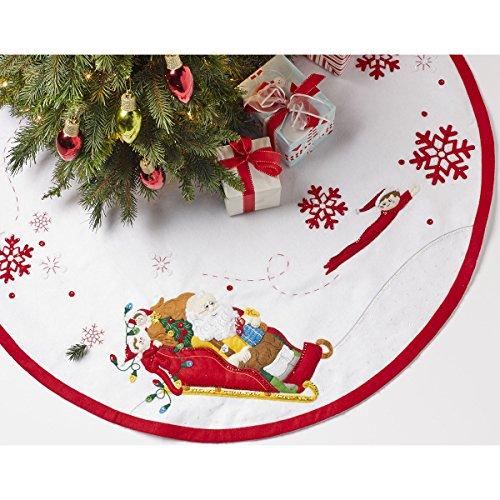 Bucilla Papá Noel y Scout elfo Árbol Falda Fieltro Apliques kit-43-inch redondo