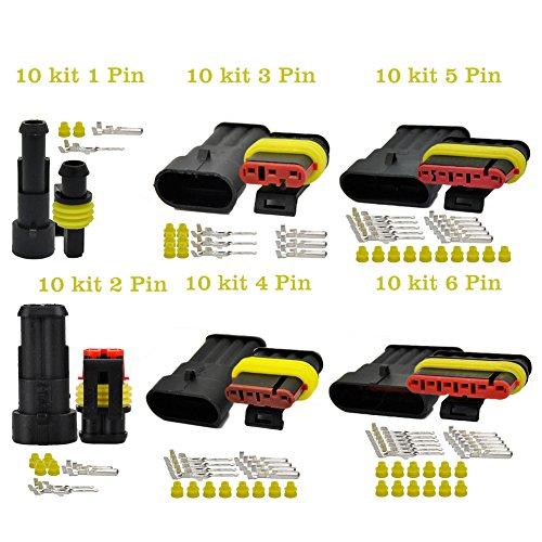 OxoxO 1/2/3/4/5/6 Pin Way 20-16 AWG Waterproof Electrical Connector, yellow Seal Insert 1.5mm Series Terminals Heat Shrink Quick Locking Wire Harness Sockets -