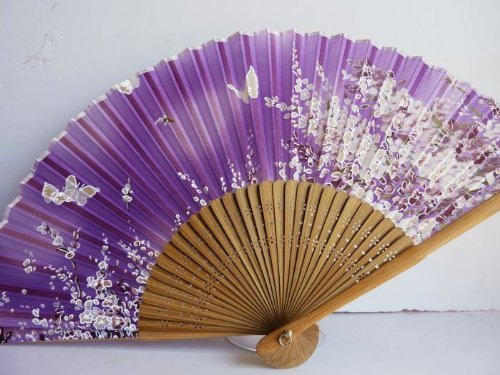 Tang dynasty (TM) Hochwertige Japanische Seide Handheld Fan Hand Fan Lila mit Schmetterling - Fan Red - Folding Japanese