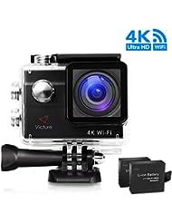 Victure Action Kamera 4K WIFI Sport Action Cam 20MP Ultra HD Helmkamera Wasserdicht für Motorrad Fahrrad Reiten mit 2 Verbesserten Batterien und Zubehör Kits