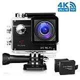 Action Cam 4K WIFI Sport Camera 20MP Macchina Fotografica Subacquea Impermeabile Videocamera Sportiva con 170° Grandangolare 2.0 Pollici due 1050mAh Batterie e Kit Accessori